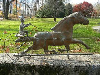 Old American Folk Art Copper Weathervane Sulky & Horse   Antique