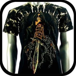 Survivor T Shirt Biker Skull Sword Tattoo S100 Sz L Rock Punk Graffiti