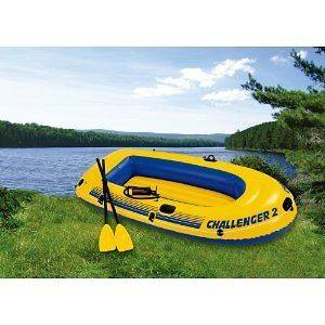 Intex Challenger 2 Inflatable Raft Boat with Oars and Pump