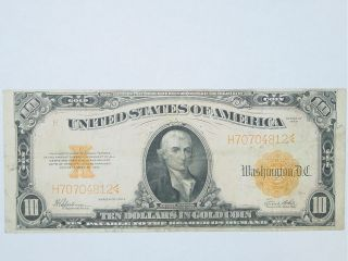 1922 $10 Large Size United States GOLD Certificate Currency Note