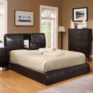 Webster Espresso Leatherette Finish Platform Bed Frame