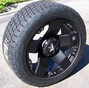 20 INCH XD 775 BLACK ROCKSTAR WHEEL & TIRE PACKAGE NEW 5/6/8 LUG