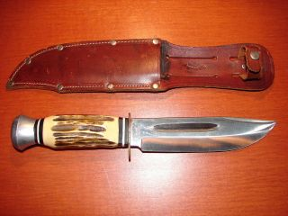 SOLINGEN GERMANY STAG VINTAGE HUNTING KNIFE + ORIG. LEATHER SHEATH
