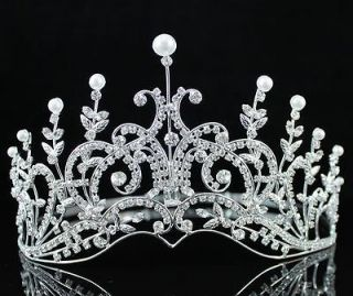 PAGEANT RHINESTONE FAUX PEARL CRYSTAL TIARA CROWN BRIDAL WEDDING PROM