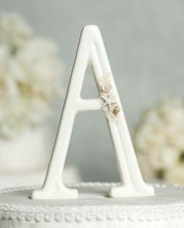 Porcelain Beach Monogram Letter Wedding Cake Topper