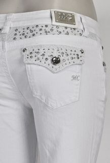 Miss Chic Jeans White Bootcut w Jewel Design on Waist & Pockets SZ 1