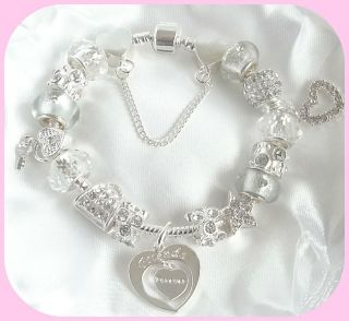 NEW SPARKLING SILVER CHARM BRACELET FRIENDS FOREVER GIFT/BOXED 13TH