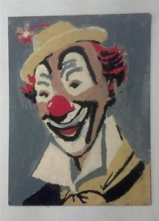 VINTAGE PAINT BY NUMBER CLOWN PAINTING 8 x 6