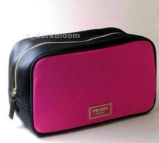 PRADA CANDY PARFUM Pink Black SATIN COSMETIC BAG MAKEUP CASE NEW