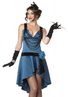 Sexy Womens 20s Flapper Cabaret Halloween Costume Blue Dress