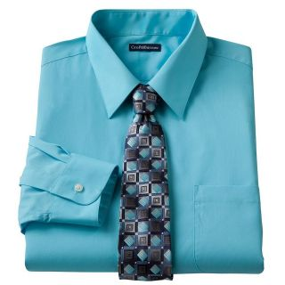 & Barrow Mens Turquoise Blue Dress Shirt Hand Crafted Tie Box Set
