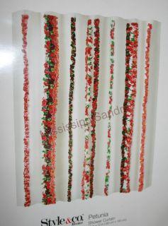 Style&Co Petunia Shower Curtain White Pink Purple Orange Boho Chic