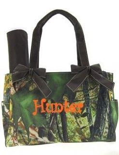 Personalized DIAPER BAG monogrammed baby tote oak camo BLACK