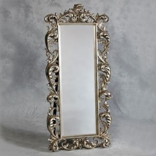 LARGE FRENCH CHATEAU ANTIQUE SILVER FREE STANDING FULL LENGTH MIRROR