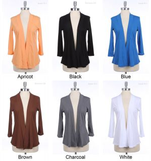 Basic Solid Plain 3/4 Sleeve Open Cardigans VARIOUS COLOR and SIZE