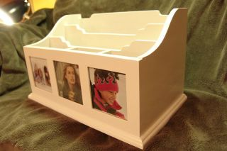 13 Wooden Photo Desk Mail Organizer Holder Bills Nice bright white