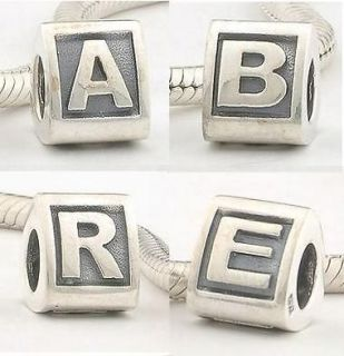 925 Sterling Silver initials letter A to Z alphabet bead charm for