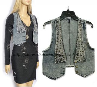VTG BOHO Studs Washed Denim Vest Blue SZ XS,S