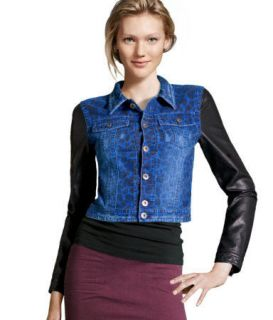 denim jacket leather sleeves in Clothing,