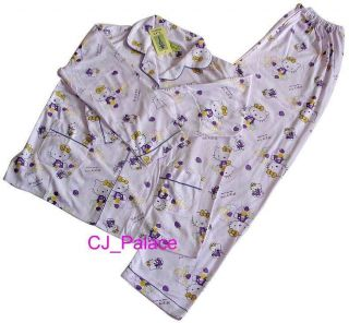 Hello Kitty Pajama Set Sleepwear Teenager Adult   Purple Color, Size