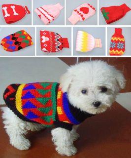 Cute Pet Cat Dog Puppy Sweater Knitwear Coat Apparel Clothes xs/s/m