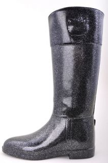 SANRIO HELLO KITTY BLACK GLITTER ANGELINA TALL MID CALF RAIN BOOTS