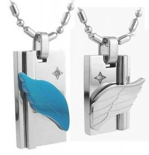 Silver 316L Stainless Steel Love Flying Angel Wings Couple Necklaces
