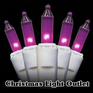 100 Purple Mini Christmas Tree Outdoor String Lights 27ft White Wire