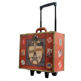 Lee USA. Vintage(**CAFE PARIS**) Luggage Bag. Trunk. Rolling Suitcase