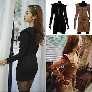Womens Sexy Zip Midi Dress Cocktail Party Evening Solid Vintage Retro