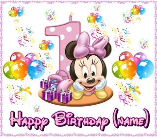 Minnie Mouse 1st Birthday Frosting Sheet Edible Cake Topper