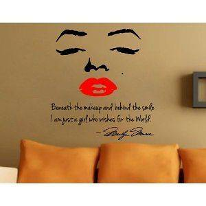 Marilyn Monroe Face Wall Vinyl Decal Quote Sticker Room Decor NEW