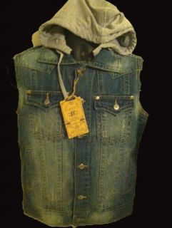 Sleeveless Denim Jackets, Vintage Blue with detachable Hoodie. Latest