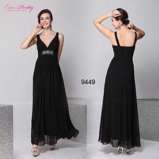 Sexy V neck Black Pleated Empire Rhinestone Long Prom Dress 09449 US