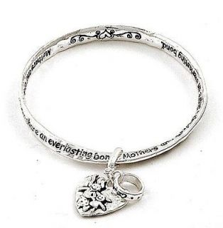 Mother Daughter Bracelet Twisted Bangle Heart Charm Silver Tone