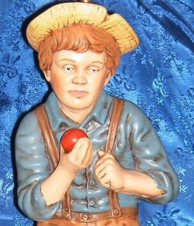Vintage Holland Mold Lamp Depicting Boy in Overalls Sitting on