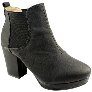 WOMENS BLACK HIGH HEEL CHELSEA BOOTS OFFICE WORK ANKLE SHOES NEW 3 8