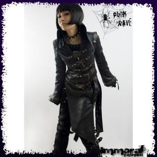 PUNK RAVE STEAMPUNK MILITARY TRENCH COAT   PUNK/GOTHIC/BL​ACK/JACKET