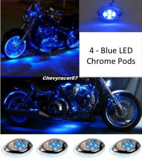 4PC BLUE LED CHROME MODULES MOTORCYCLE CHOPPER FRAME NEON GLOW LIGHTS