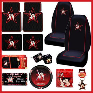 Betty Boop Star Car Seat Covers Accessories Set 12pc w/ Sun Shade