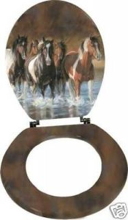 Horse Toilet Seat!Western Art Horses Bath rivers edge