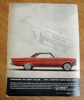 1964 Mercury Comet Cyclone Ad With A Heritage 100,000 Miles Long