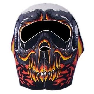 in 1 Reversible Motorcycle Biker Skier Neoprene Face Mask   Flaming