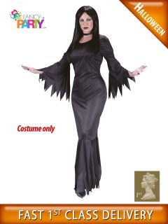 Ladies MORTICIA ADDAMS Family Halloween gothic fancy dress costume