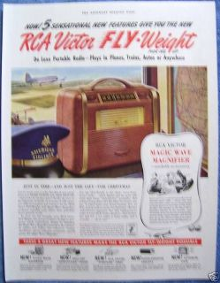 VINTAGE 1941 RCA VICTOR FLY WEIGHT RADIOS AD