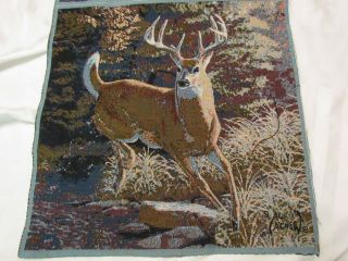Al Agnew Fall Buck Running Whitetail Deer Autumn Tapestry Pillow