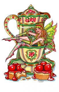 Kirby Leary Print Tea Cup Pot Fairy Cherry Cheesecake