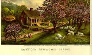 OLD PRINT SEASONS SPRING TREE PINK CHERRY BLOSSOMS SHEEP CHILDREN FARM