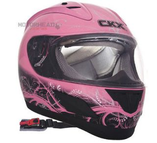 Motorcycle Helmet Full Face Youth Single Lens CKX RR601 Flow Pink