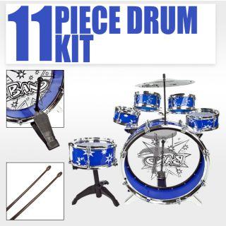 Kids Drum Set Blue Boy Girl Musical Instrument Toy Music Band Children
